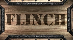 Flinch on wooden stamp Stock Footage