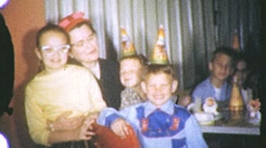 BIG KIDS Children's Birthday SMILES Party HATS 1960s Vintage Film Home Movie 737 Stock Footage