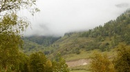 Clouds in the mountain valley Stock Footage