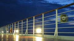 Night at sea, view from cruise liner Stock Footage