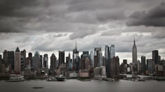 Cloudy New York City skyline timelapse - stock footage