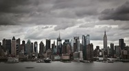 Stock Video Footage of Cloudy New York City skyline timelapse