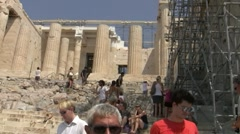 People walking around ruins of Metropolis, Athens, Greece Stock Footage