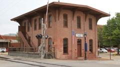 Lincoln's Train depot corner shot Stock Footage