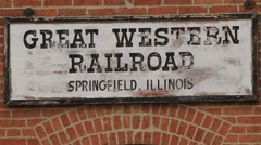 Lincoln's Train depot sign Springfield pull out Stock Footage