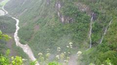 Waterfall in misty mountains near Stalheim Stock Footage