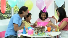 Young Asian Birthday Girl Receiving a Gift Stock Footage