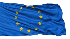 Realistic 3d seamless looping Europe flag waving in the wind. - stock footage