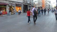 People walking on Istiklal Avenue Stock Footage
