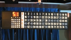 Display with blinking numbers during bingo game - stock footage