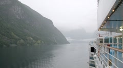 Fjord covered with light fog, time lapse Stock Footage