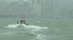 Pilot Boat Navigates Rough Seas In Tropical Storm Stock Footage