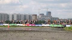 Drift racing on new highway MegaFon Tushino Stock Footage