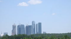 High-tech Moscow buildings, view from Grebnoi canal, time lapse Stock Footage