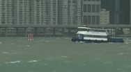 Stock Video Footage of Rough Seas During Tropical Storm In Hong Kong