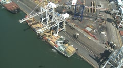 Container Ship Aerial of Shipyard Stock Footage