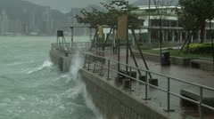 Rough Seas During Tropical Storm In Hong Kong - stock footage