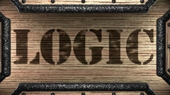 logic on wooden stamp - stock footage