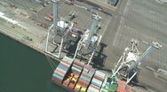 Stock Video Footage of Container Ship Aerial of Shipyard