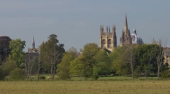 The dreaming spires of Oxford across the meadow. Stock Footage