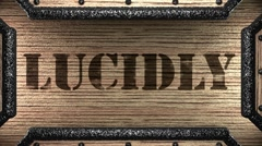 lucidly on wooden stamp - stock footage