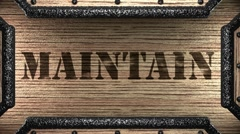 maintain on wooden stamp - stock footage
