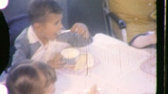 YUMMY! Kids Eat Ice Cream and Cookies PARTY 1950s Vintage Film Home Movie 740 Stock Footage