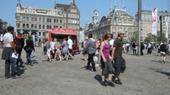 Dam Square in Amsterdam Stock Footage
