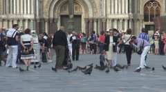 People in San Marco Square Stock Footage