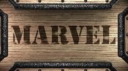 Marvel on wooden stamp Stock Footage