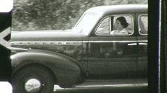 Woman Drives Old Car Auto Antique Backs Up  1940s Vintage Film Home Movie 751 Stock Footage