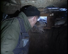 Armija soldier in a machine-gun emplacement Stock Footage