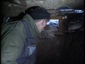 Armija soldier in a machine-gun emplacement Stock Footage