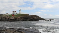 Cape Neddick Lighthouse Maine 2 Stock Footage