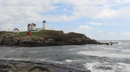 Stock Video Footage of Cape Neddick Lighthouse Maine 2