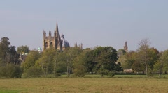 The dreaming spires of Oxford across Christchurch meadow. Stock Footage
