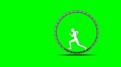 Man runs in a hamster wheel Stock Footage