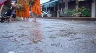 Luang Prabang Monk Alms Stock Footage