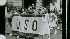 Women USO Girls Parade WW2 WORLD WAR TWO 2nd 1943 Vintage Film Home Movie 764 Stock Footage