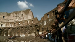 Tourists inside Colosseum timelapse Stock Footage