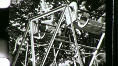 Children Ride Ferris Wheel Kids Amusement Park 1940s Vintage Film Home Movie 772 Stock Footage