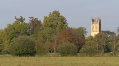 Magdalen college tower across Christchurch meadow. Stock Footage