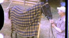 Stock Video Footage of Jockey Racehorse Horse Thoroughbred Trainer 1950s Vintage Film Home Movie 776