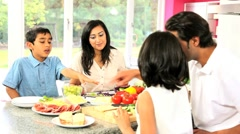 Young Asian Family Making Healthy Lunch Together Stock Footage