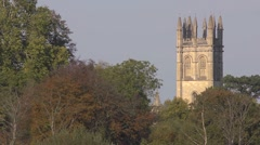 Magdalen college tower through the trees, Oxford. Stock Footage