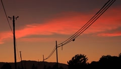 Telephone Lines and Sunset Stock Footage