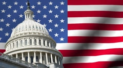 US capitol building with rippling American Flag animation Stock Footage