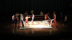 Muay Thai Kick Boxing Match-Long Shot Stock Footage