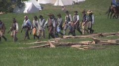 Stock Footage - Confederate Army moving into position - cavalry - infantry Stock Footage