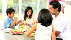 Asian Family Preparing Healthy Meal Together Stock Footage